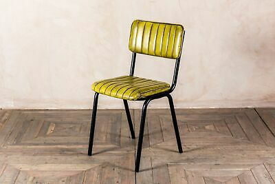 Stacking Dining Chair In Vintage Yellow Ribbed Faux Leather, Cafe Restaurant