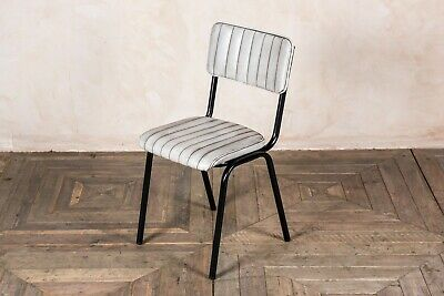 Stacking Dining Chair In Vintage White Ribbed Faux Leather, Cafe Restaurant