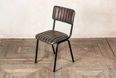 Stacking Dining Chair In Vintage Grey Ribbed Faux Leather, Cafe Restaurant Chair