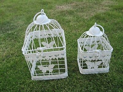 1Set 2in1 White Square Hanging Bird Cage Card Holder - Butterfly