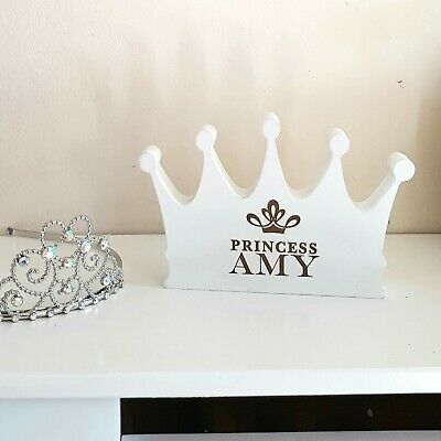Personalised Engraved Wooden Princess Crown Freestanding Room Decoration MDF