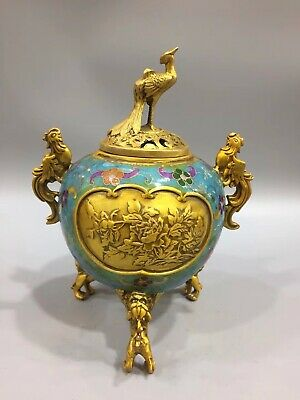 Chinese Antique Cloisonne Handmade Peacock Phoenix incense burner decoration