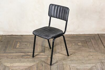 Stacking Dining Chair In Vintage Black Ribbed Faux Leather, Cafe Restaurant