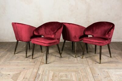 Set Of Four Red Velvet Dining Chairs Mid Century Style Vintage Style