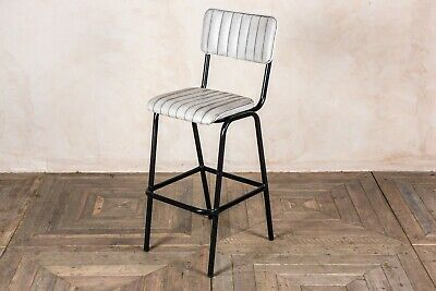 White Upholstered Bar Stool In Vintage Style Faux Leather 76Cm Leather Look