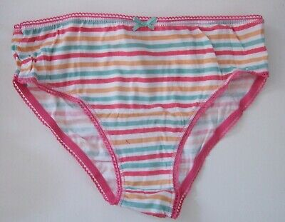 Two Girls Age 7-8yrs 100% cotton knickers briefs panties striped Pink