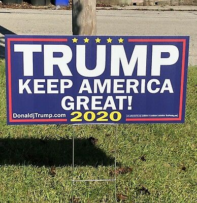 Keep America Great KAG Trump 2020 Re Election Yard Signs 12x24 W Stake 2 Sided