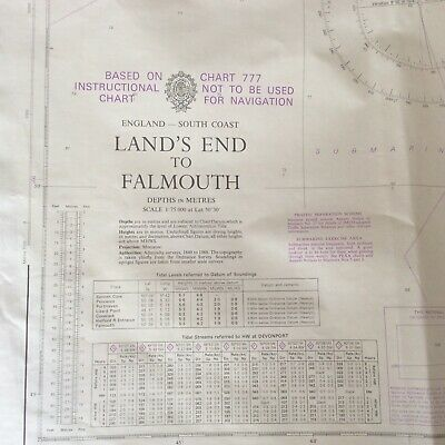 Vintage 1974 Admiralty/Maritime/Nautical/Map/Chart No 777/Lands End to Falmouth