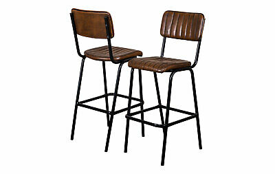 Pair Of Brown Upholstered Bar Stool In Vintage Style Faux Leather 76Cm Leather