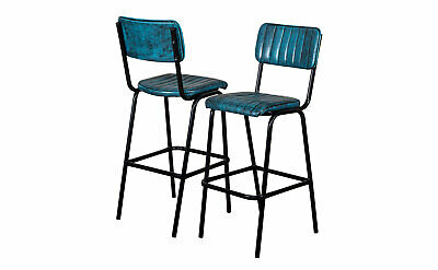 Pair Of Blue Upholstered Bar Stool In Vintage Style Faux Leather 76Cm Leather