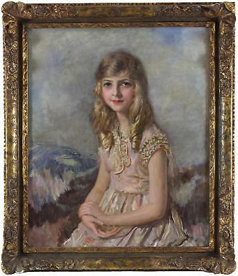 Isaac Esme Large Antique Impressionist Oil Painting Portrait of a Lady Signed