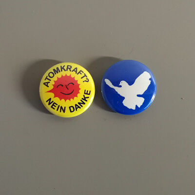 Set Atomkraft Nein Danke / Friedenstaube Button / Pins / Badge / 1 Inch / 25 mm