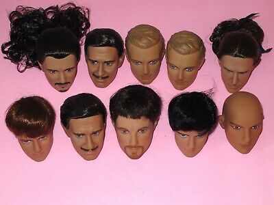 """Tonner - LOT of 10 Misc. 17"""" Male Fashion Doll HEADS - Repaint Artists Crafts"""
