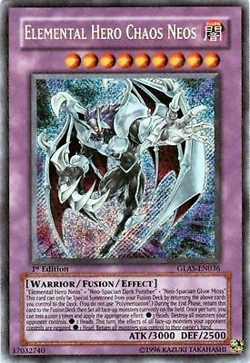 YUGIOH ELEMENTAL HERO CHAOS NEOS SECRET RARE 1st EDITION GLAS-EN036 NEAR MINT