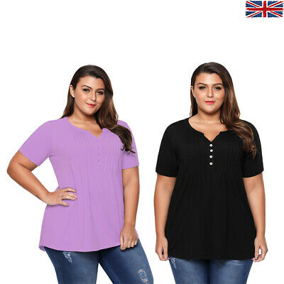 Womens Plus Size Jersey Top Pin Tuck Summer Short Sleeve V Neck Button Solid Hot