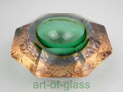 Vintage Murano sommerso green yellow & blue 'geode' glass bowl 1960s 1970s retro