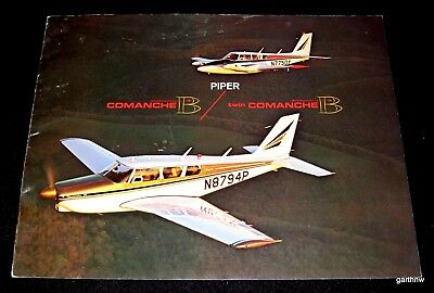 PIPER COMANCHE B 1960s AIRPLANE BROCHURE TWIN SPECS EQUIPMENT