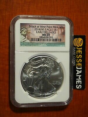 2014 (W) $1 American Silver Eagle Ngc Ms69 Er Struck At West Point S.o.l. Label