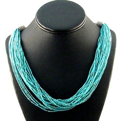 Native American 30 Strand Turquoise Necklace by Lakota Indian Theresa Meyette