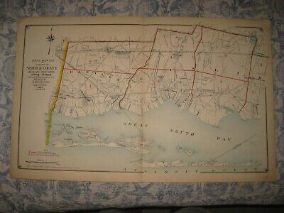 Antique 1915 Suffolk County New York Map Fire Island Amityville Babylon Sayville