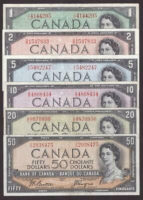 1954 Bank of Canada $1 $2 $5 $10 $20 $50 Beattie Coyne 6-notes VF25 or better
