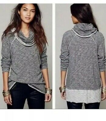 7881f3ae80 Anthropologie FREE PEOPLE Beach ONE SIZE Gray Cowl Neck COCOON Pullover Top