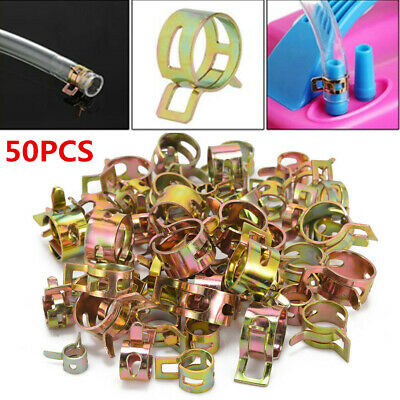 Fastener 5/6/7/8/9mm 50Pcs Spring Clip Fuel Water Line Hose Pipe Air Tube Clamps