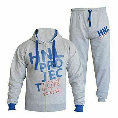 Kids Girls Grey & Blue Designer Tracksuit HNL Hooded Bottoms Joging Suit 7-13 Yr