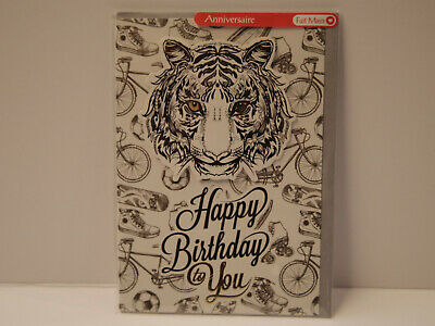 Happy Birthday to you Tigre sur fond sportif Carte Anniversaire Partners Card