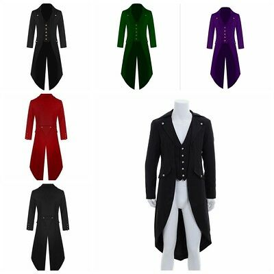 Retro Victorian Steampunk Swalow Gothic Men Tailcoat Jacket Ringmaster Tail Coat