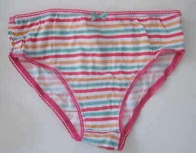 Two Girls Age 9-10yrs 100% cotton knickers briefs panties striped Pink
