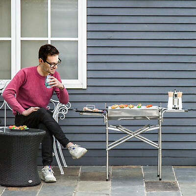 Outsunny BBQ Charcoal Barbecue Grill Outdoor Garden Picnic Stainless Steel New