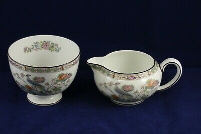 Wedgwood Bone China Kutani Crane R4464 Milk Jug & Sugar Bowl