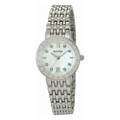 Bulova 96R203 Classic Stainless Steel Mother of Pearl Dial Diamond Accent Watch