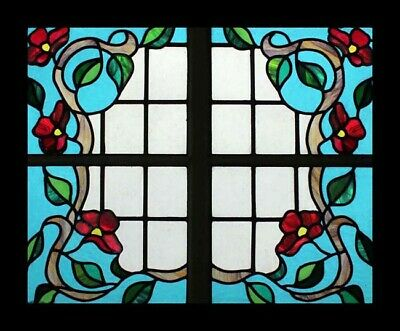 Rare Art Nouveau English Climbing Roses Antique Stained Glass Window