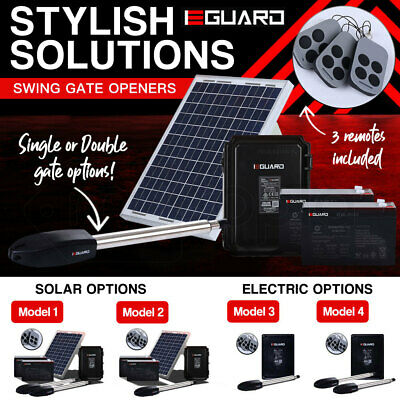 E-GUARD Double Single Swing Automatic Electric Solar Gate Opener Remote Control