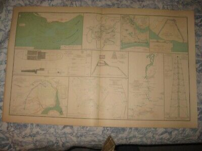 Antique 1891 Official Civil War Map Rebel Fort Fisher North Carolina Virginia Nr