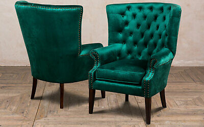Pair Of Large Chesterfield Style Velvet Armchair Emerald Green Feature Chair