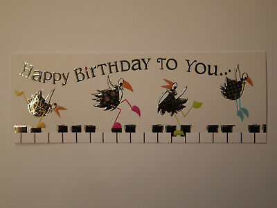 Happy Birthday to you Oiseaux sur piano Carte format à l'italienne Pictura