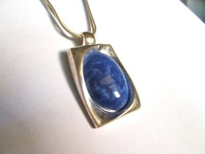 Vintage KC Signed Marbled Blue Pendant Necklace Silver plated Kenneth Cole 18""