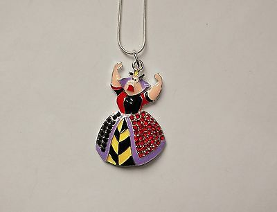 QUEEN OF HEARTS Inspired Large Charm NECKLACE With Rhinestones Alice Wonderland