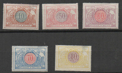 Belgium, 1902 selection of 5 Railway Parcel stamps mounted mint.