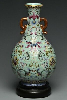 Fine Chinese Famille Rose Vase Qianlong Mark And Stand