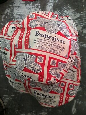 383461a212e Vtg 70-80s Budweiser Bucket Boonie Cap Hat All Over Print Safari Fisherman  Beach
