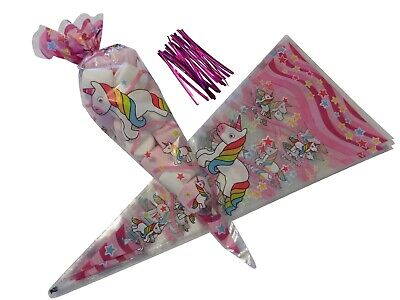 UNICORN Sweet Cone Bags Loot Favour Childrens Gift Party Bags & Pink Twist Ties