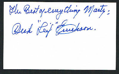 Dick Errickson (d. 1999) signed autograph 3x5 index card Baseball Player H2610