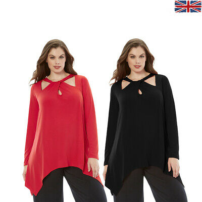 Womens Plus Size Top Spring High Low Cutout Swing Long Sleeve Casual Blouse Lady