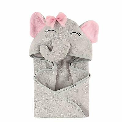 Unisex Baby Animal Face Hooded Towel, Pretty Elephant 1-Pack, One Size
