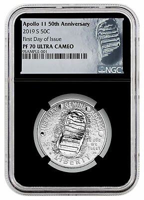 2019 S Apollo 11 50th Commem Clad Half Dollar NGC PF70 FDI Black Moon SKU56913
