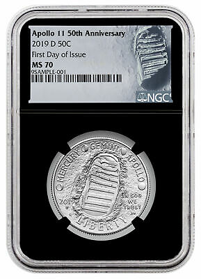 2019 D Apollo 11 50th Commem Clad Half Dollar NGC MS70 FDI Blk Moon SKU56917